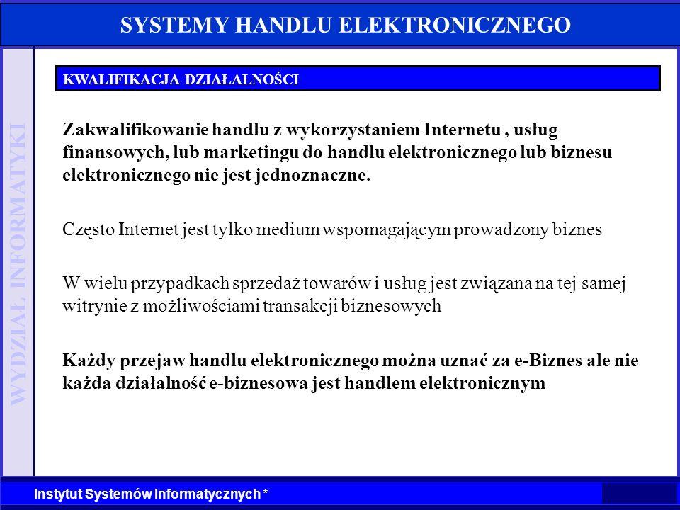 WYDZIAŁ INFORMATYKI Instytut Systemów Informatycznych * SYSTEMY HANDLU ELEKTRONICZNEGO KWALIFIKACJA DZIAŁALNOŚCI Samo stworzenie własnej witryny WWW i prezentacja na niej oferty firmy nie jest jeszcze handlem elektronicznym (ale może do niego prowadzić) O handlu elektronicznym możemy mówić dopiero wtedy, gdy jest możliwe dokonywanie zakupów towarów lub usług Handel elektroniczny w pełnym ujęciu występuje wtedy gdy możliwa jest realizacja płatności elektronicznych