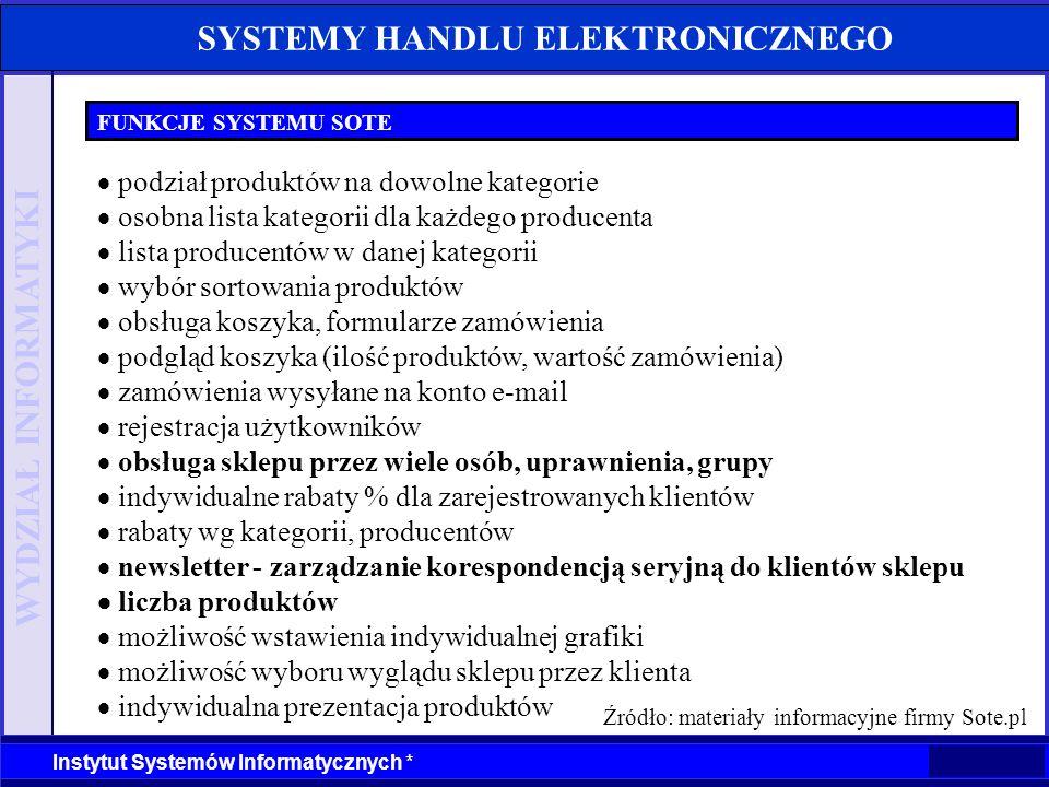 WYDZIAŁ INFORMATYKI Instytut Systemów Informatycznych * SYSTEMY HANDLU ELEKTRONICZNEGO FUNKCJE SYSTEMU SOTE podział produktów na dowolne kategorie oso
