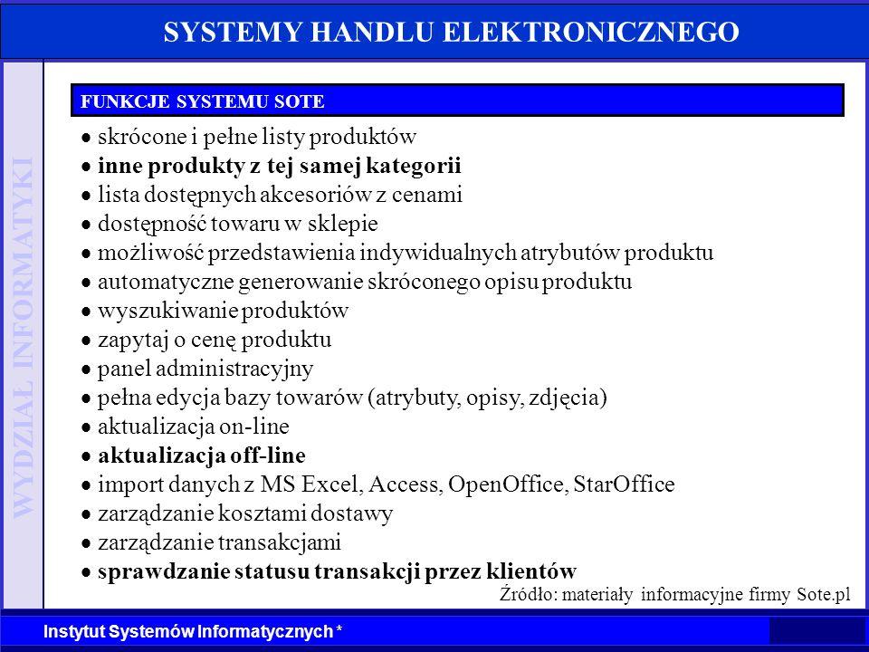 WYDZIAŁ INFORMATYKI Instytut Systemów Informatycznych * SYSTEMY HANDLU ELEKTRONICZNEGO FUNKCJE SYSTEMU SOTE skrócone i pełne listy produktów inne prod