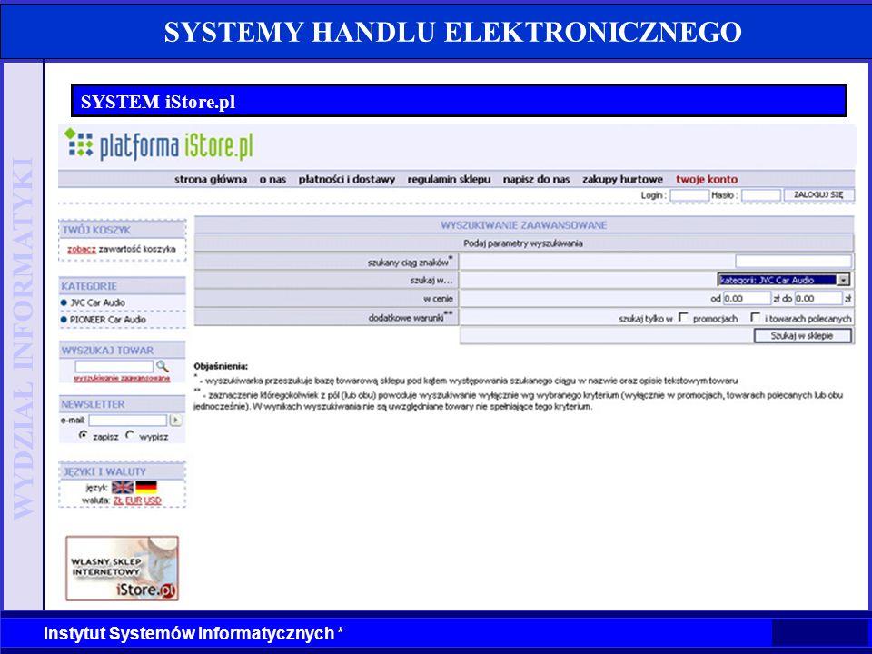 WYDZIAŁ INFORMATYKI Instytut Systemów Informatycznych * SYSTEMY HANDLU ELEKTRONICZNEGO SYSTEM iStore.pl