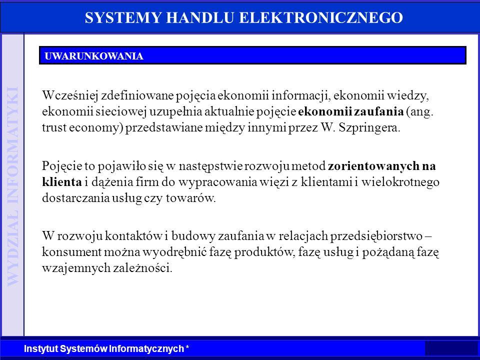 WYDZIAŁ INFORMATYKI Instytut Systemów Informatycznych * SYSTEMY HANDLU ELEKTRONICZNEGO FUNKCJE SYSTEMU iStore.pl · samodzielna administracja sklepem · program iStore.pl Agent dla Windows (powiadamianie o zamówieniach, przekazywanie informacji od klientów) · import towarów z pliku tekstowego · import towarów z Excela · zarządzanie kosztami dostaw · mailing reklamowy do użytkowników · statystyki sklepu Źródło: materiały informacyjne iStore.pl
