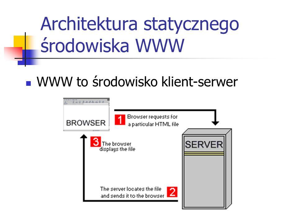 Architektura statycznego środowiska WWW WWW to środowisko klient-serwer
