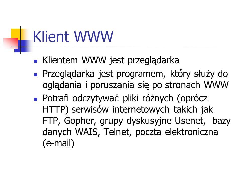 Klient WWW Klientem WWW jest przeglądarka Przeglądarka jest programem, który służy do oglądania i poruszania się po stronach WWW Potrafi odczytywać pl