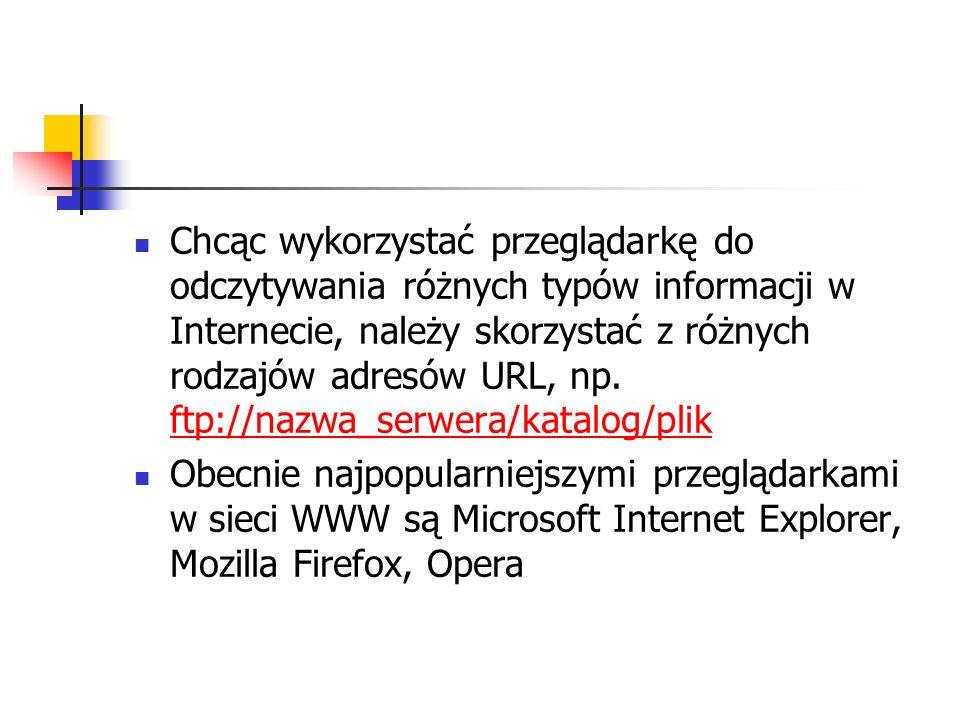 Chcąc wykorzystać przeglądarkę do odczytywania różnych typów informacji w Internecie, należy skorzystać z różnych rodzajów adresów URL, np. ftp://nazw
