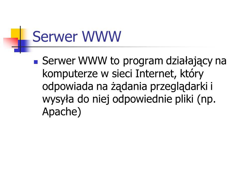 Serwer WWW Serwer WWW to program działający na komputerze w sieci Internet, który odpowiada na żądania przeglądarki i wysyła do niej odpowiednie pliki