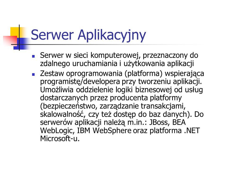Serwer Aplikacyjny Serwer w sieci komputerowej, przeznaczony do zdalnego uruchamiania i użytkowania aplikacji Zestaw oprogramowania (platforma) wspier