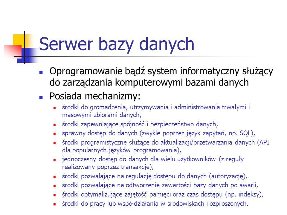 Oprogramowanie bądź system informatyczny służący do zarządzania komputerowymi bazami danych Posiada mechanizmy: środki do gromadzenia, utrzymywania i