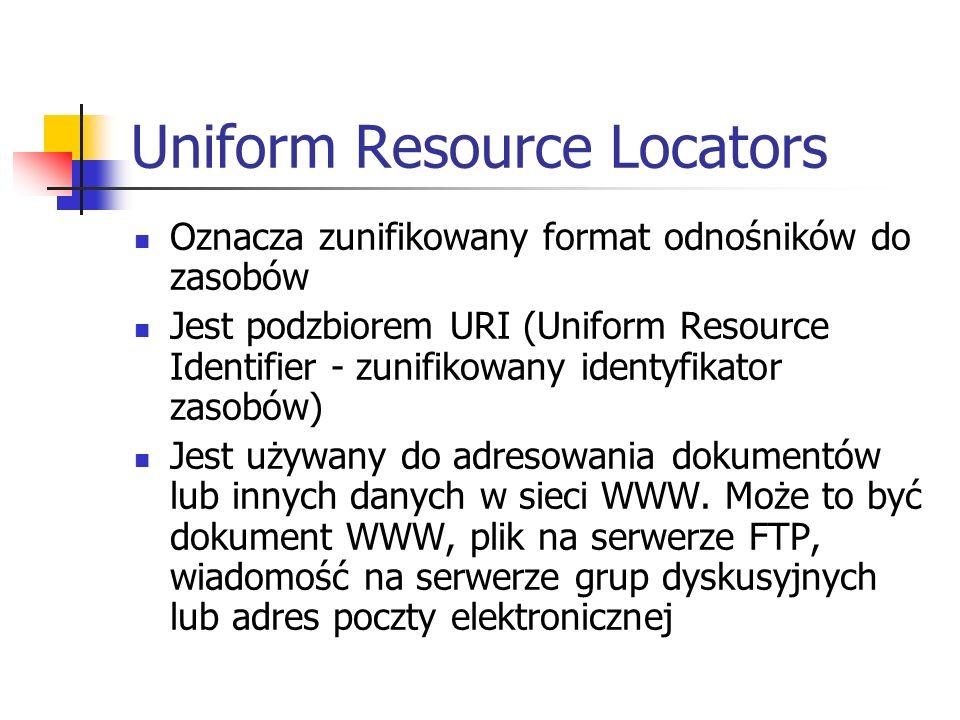 Uniform Resource Locators Oznacza zunifikowany format odnośników do zasobów Jest podzbiorem URI (Uniform Resource Identifier - zunifikowany identyfika