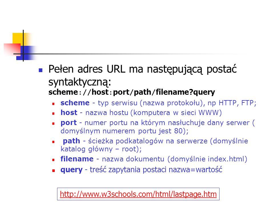 Pełen adres URL ma następującą postać syntaktyczną: scheme :// host : port / path / filename?query scheme - typ serwisu (nazwa protokołu), np HTTP, FT
