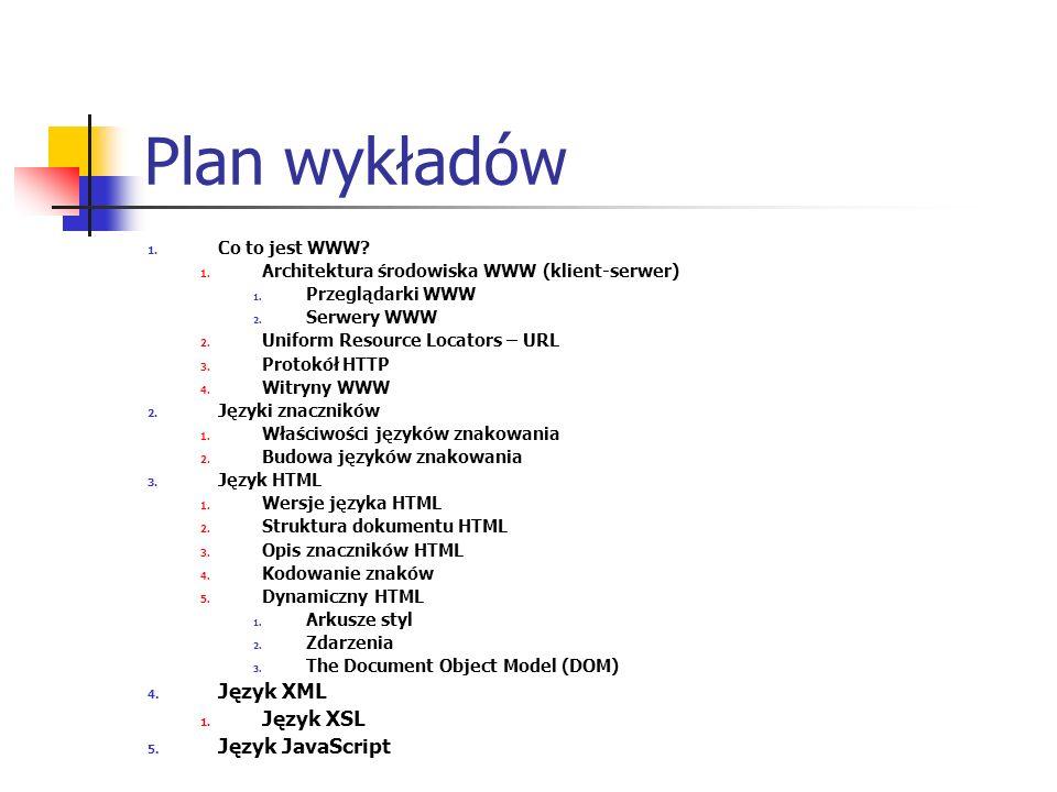 Plan wykładów 1. Co to jest WWW? 1. Architektura środowiska WWW (klient-serwer) 1. Przeglądarki WWW 2. Serwery WWW 2. Uniform Resource Locators – URL