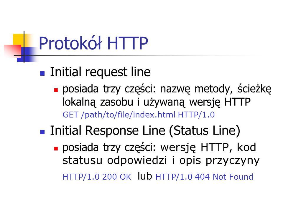 Protokół HTTP Initial request line posiada trzy części: nazwę metody, ścieżkę lokalną zasobu i używaną wersję HTTP GET /path/to/file/index.html HTTP/1