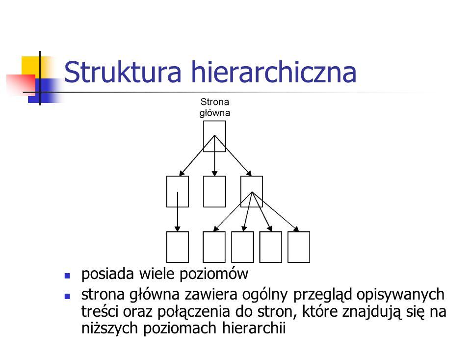Struktura hierarchiczna posiada wiele poziomów strona główna zawiera ogólny przegląd opisywanych treści oraz połączenia do stron, które znajdują się n