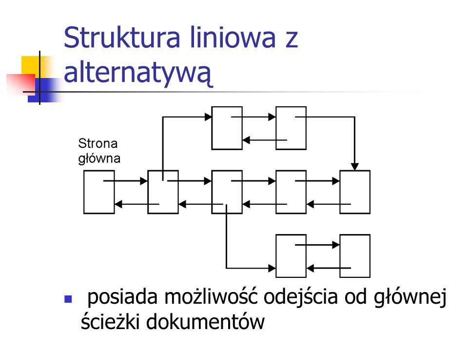 Struktura liniowa z alternatywą posiada możliwość odejścia od głównej ścieżki dokumentów