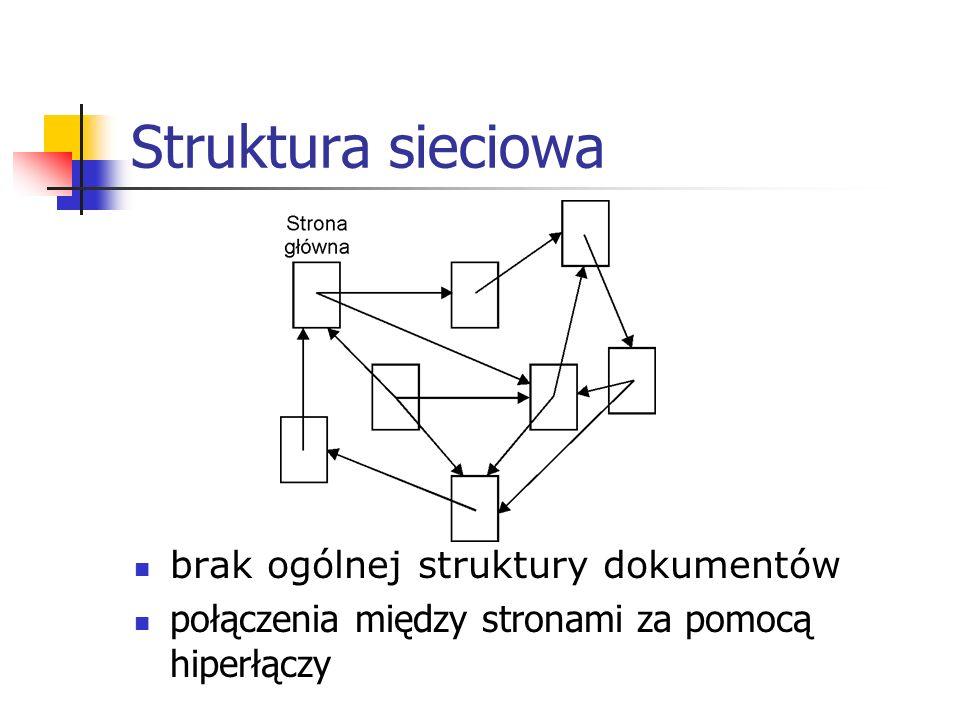 Struktura sieciowa brak ogólnej struktury dokumentów połączenia między stronami za pomocą hiperłączy