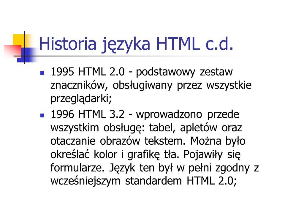 Historia języka HTML c.d. 1995 HTML 2.0 - podstawowy zestaw znaczników, obsługiwany przez wszystkie przeglądarki; 1996 HTML 3.2 - wprowadzono przede w