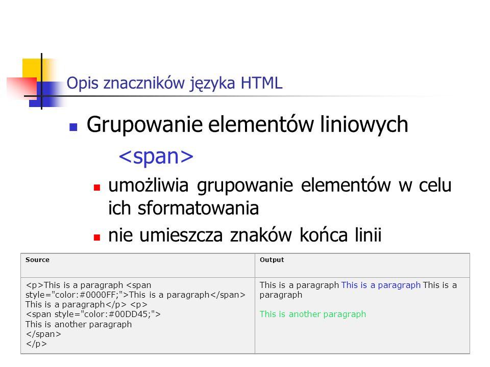 Opis znaczników języka HTML Grupowanie elementów liniowych umożliwia grupowanie elementów w celu ich sformatowania nie umieszcza znaków końca linii So