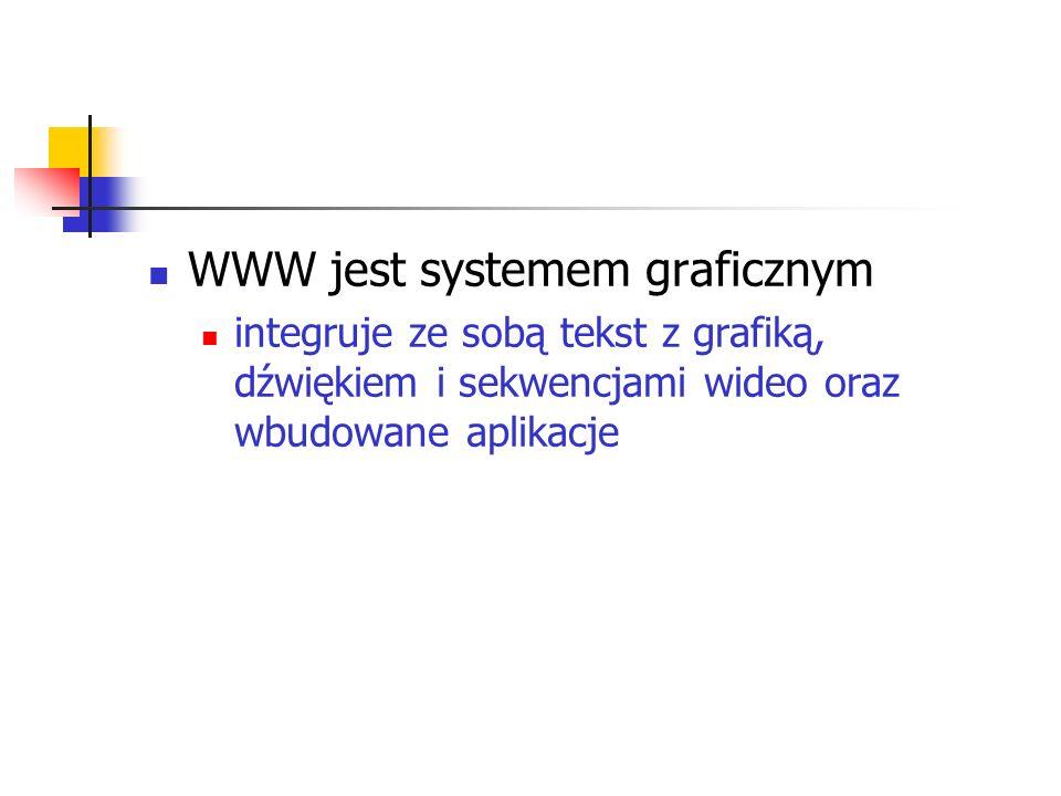 WWW jest systemem graficznym integruje ze sobą tekst z grafiką, dźwiękiem i sekwencjami wideo oraz wbudowane aplikacje
