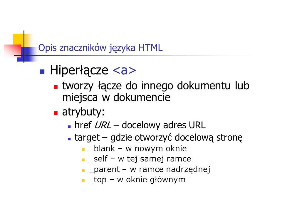 Opis znaczników języka HTML Hiperłącze tworzy łącze do innego dokumentu lub miejsca w dokumencie atrybuty: href URL – docelowy adres URL target – gdzi