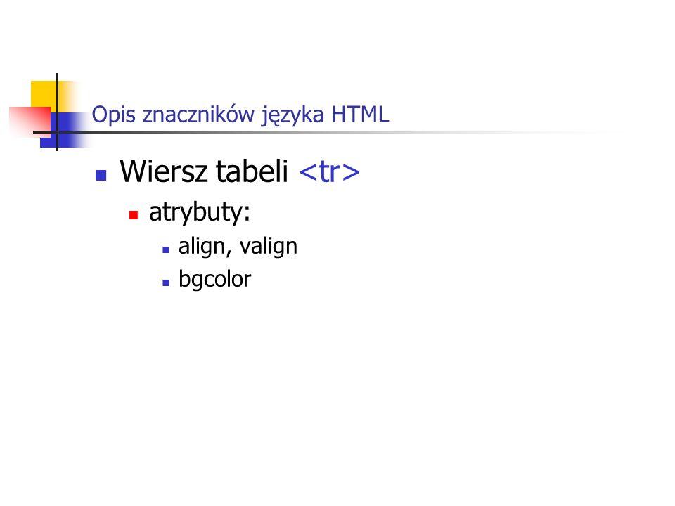 Opis znaczników języka HTML Wiersz tabeli atrybuty: align, valign bgcolor
