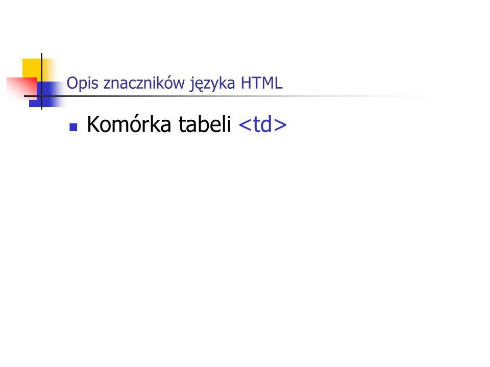 Opis znaczników języka HTML Komórka tabeli