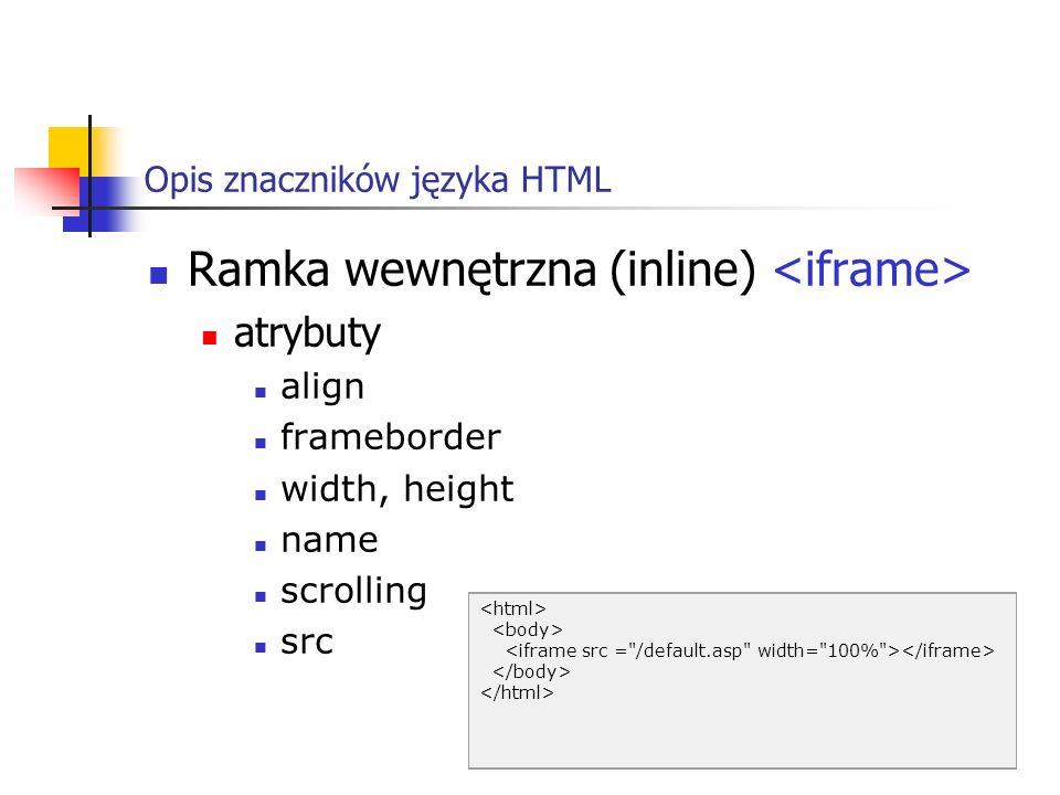 Opis znaczników języka HTML Ramka wewnętrzna (inline) atrybuty align frameborder width, height name scrolling src