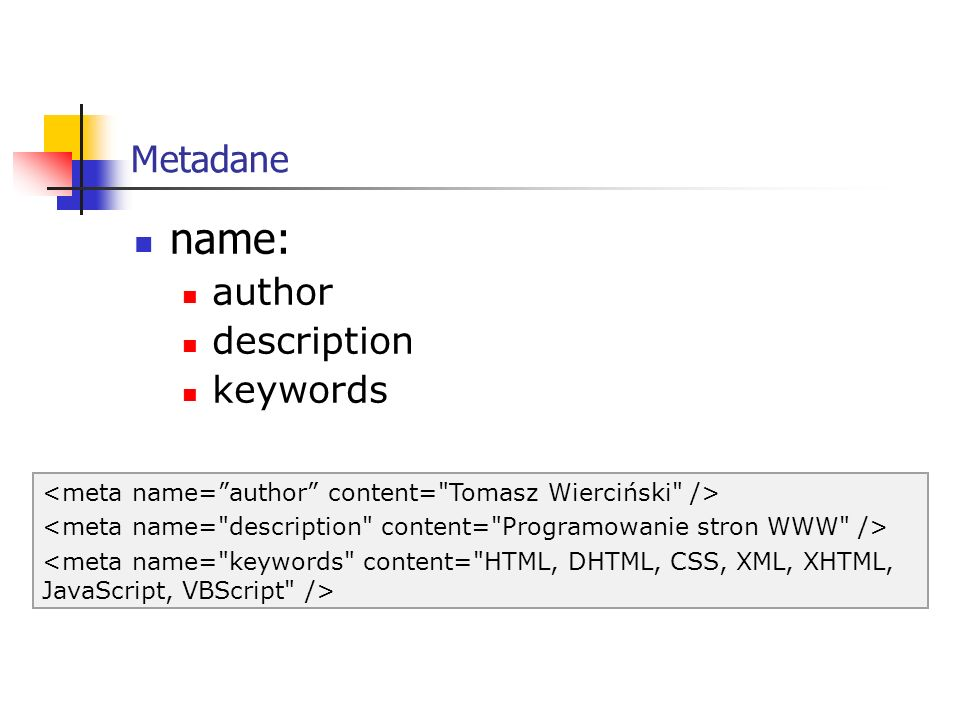 Metadane http-equiv content-type expires refresh set-cookie