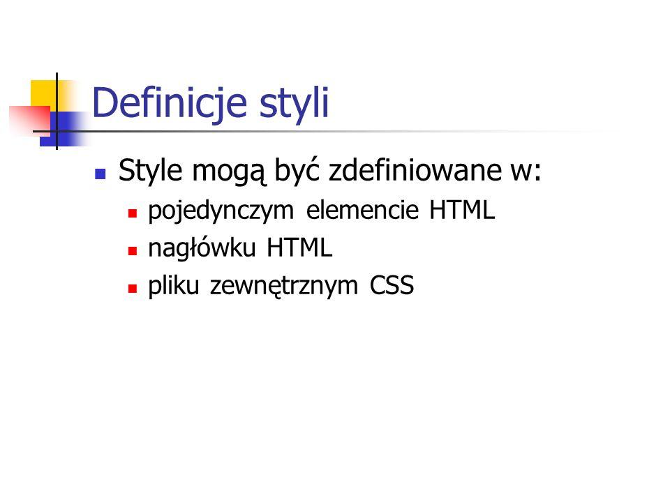 Definicje styli Style mogą być zdefiniowane w: pojedynczym elemencie HTML nagłówku HTML pliku zewnętrznym CSS