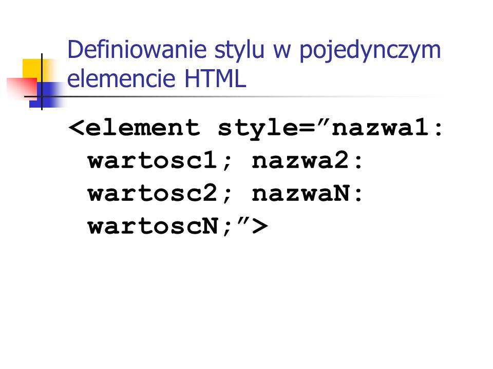 Definiowanie stylu w pojedynczym elemencie HTML