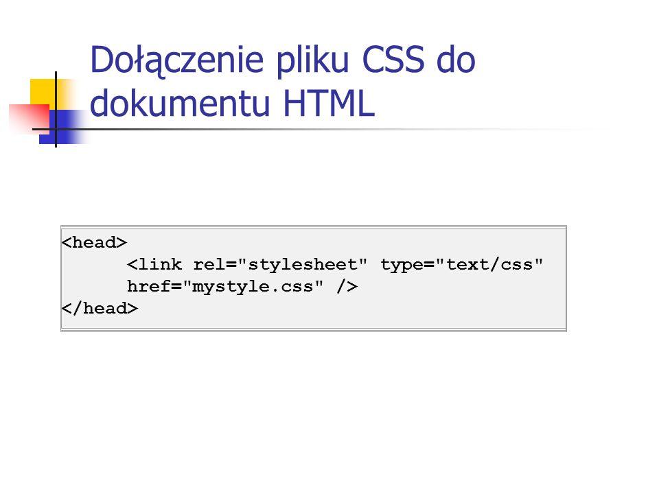 Dołączenie pliku CSS do dokumentu HTML