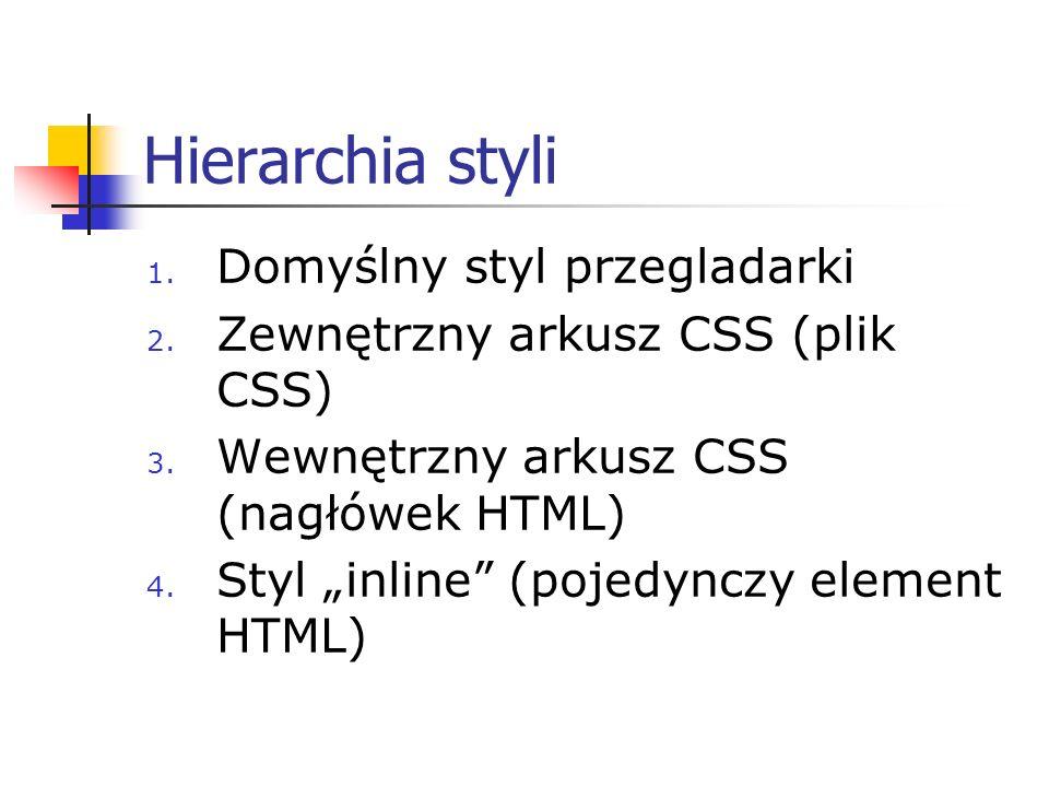 Hierarchia styli 1. Domyślny styl przegladarki 2. Zewnętrzny arkusz CSS (plik CSS) 3. Wewnętrzny arkusz CSS (nagłówek HTML) 4. Styl inline (pojedynczy