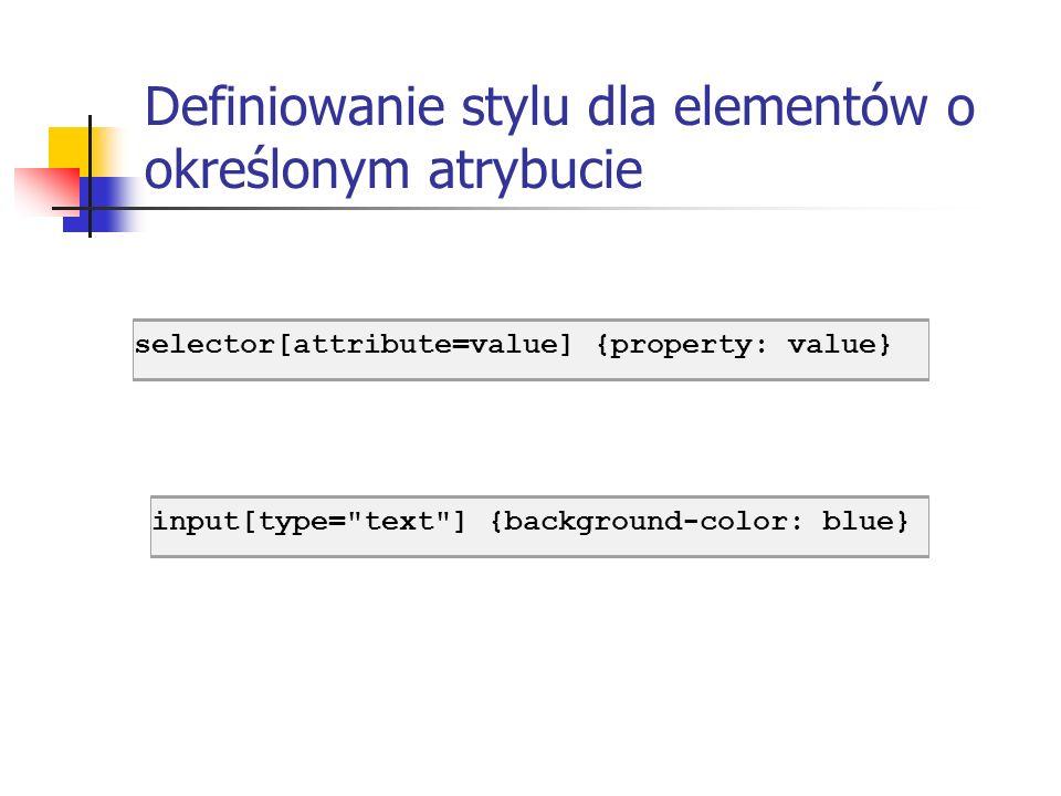 Definiowanie stylu dla elementów o określonym atrybucie input[type=