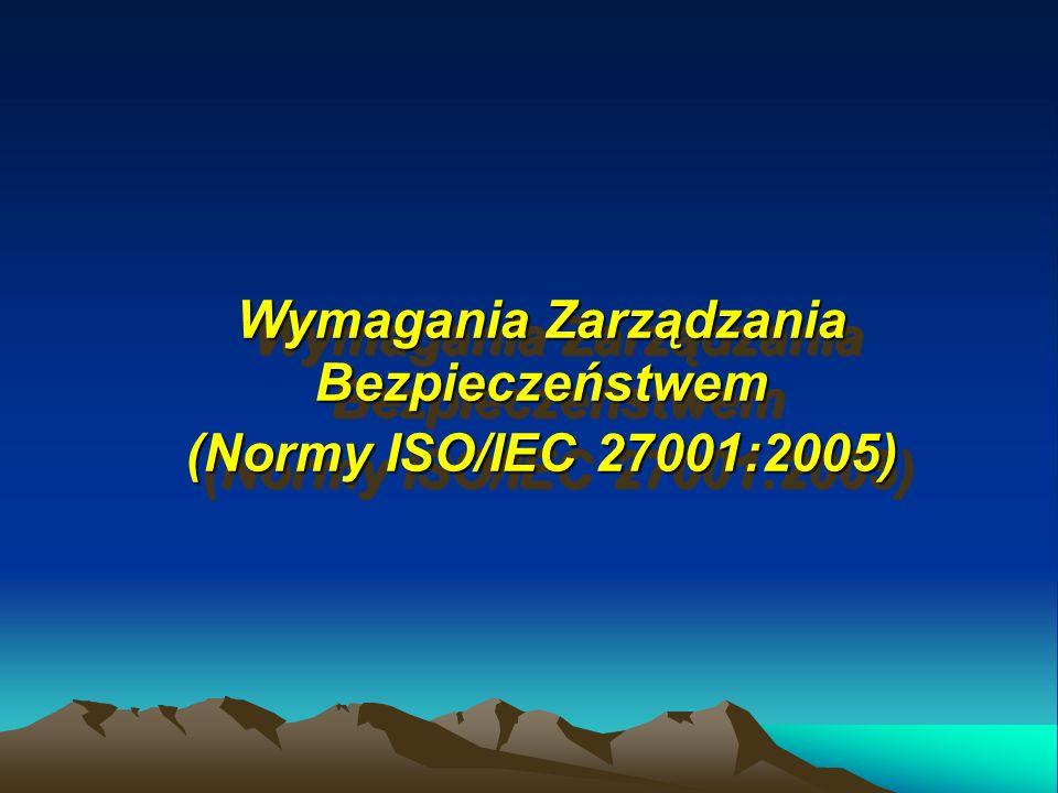 Wymagania Zarządzania Bezpieczeństwem (Normy ISO/IEC 27001:2005) Wymagania Zarządzania Bezpieczeństwem (Normy ISO/IEC 27001:2005)