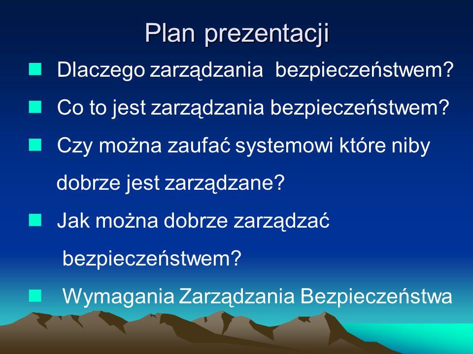 Plan prezentacji Dlaczego zarządzania bezpieczeństwem? Co to jest zarządzania bezpieczeństwem? Czy można zaufać systemowi które niby dobrze jest zarzą