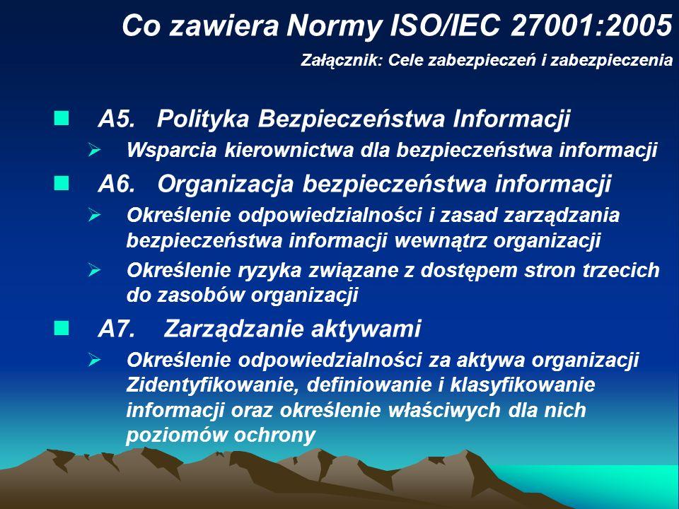 Załącznik: Cele zabezpieczeń i zabezpieczenia A5. Polityka Bezpieczeństwa Informacji Wsparcia kierownictwa dla bezpieczeństwa informacji A6. Organizac