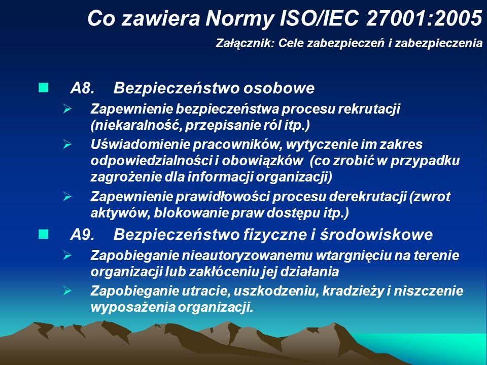 Co zawiera Normy ISO/IEC 27001:2005 Załącznik: Cele zabezpieczeń i zabezpieczenia A8. Bezpieczeństwo osobowe Zapewnienie bezpieczeństwa procesu rekrut