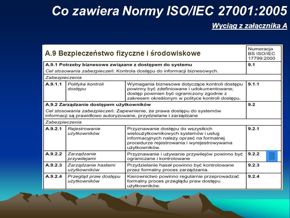 Co zawiera Normy ISO/IEC 27001:2005 Wyciąg z załącznika A A.9 Bezpieczeństwo fizyczne i środowiskowe