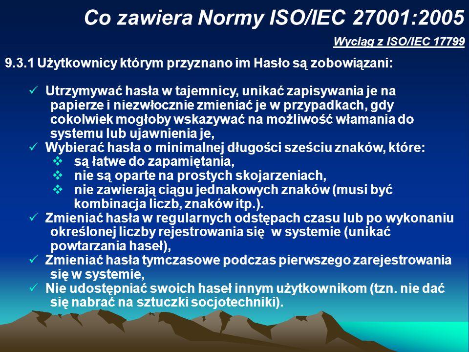 Co zawiera Normy ISO/IEC 27001:2005 Wyciąg z ISO/IEC 17799 9.3.1Użytkownicy którym przyznano im Hasło są zobowiązani: Utrzymywać hasła w tajemnicy, un