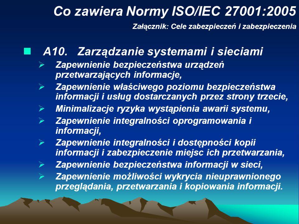 Co zawiera Normy ISO/IEC 27001:2005 Załącznik: Cele zabezpieczeń i zabezpieczenia A10. Zarządzanie systemami i sieciami Zapewnienie bezpieczeństwa urz