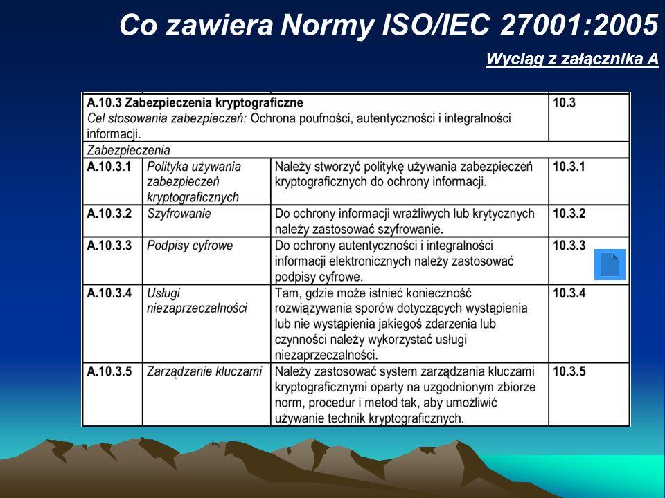 Co zawiera Normy ISO/IEC 27001:2005 Wyciąg z załącznika A