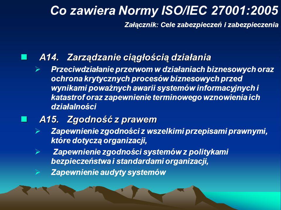 Co zawiera Normy ISO/IEC 27001:2005 Załącznik: Cele zabezpieczeń i zabezpieczenia A14. Zarządzanie ciągłością działania A14. Zarządzanie ciągłością dz