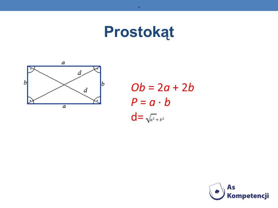 Trójkąt Ob = a + b + c P=1/2ah P=p(p-a)(p-b)(p-c), gdzie p=12(a+b+c),(wzór Herona) P=1/2absinγ=1/2bcsinα=1/2acsinβ