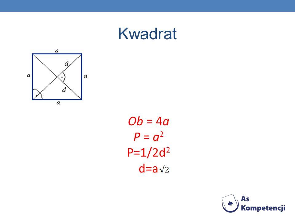 Prostokąt Ob = 2a + 2b P = a · b d= =