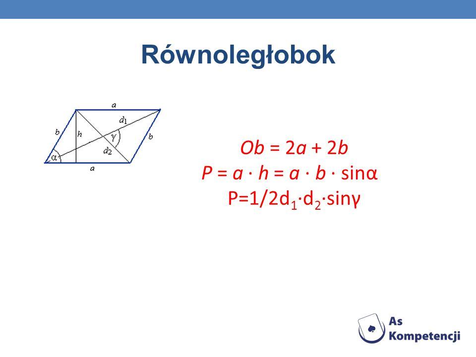 Kwadrat Ob = 4a P = a 2 P=1/2d 2 d=a