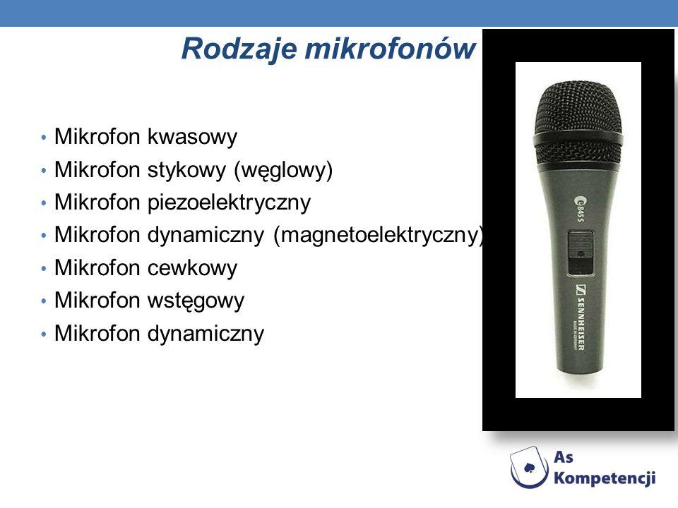 Rodzaje mikrofonów Mikrofon kwasowy Mikrofon stykowy (węglowy) Mikrofon piezoelektryczny Mikrofon dynamiczny (magnetoelektryczny) Mikrofon cewkowy Mikrofon wstęgowy Mikrofon dynamiczny