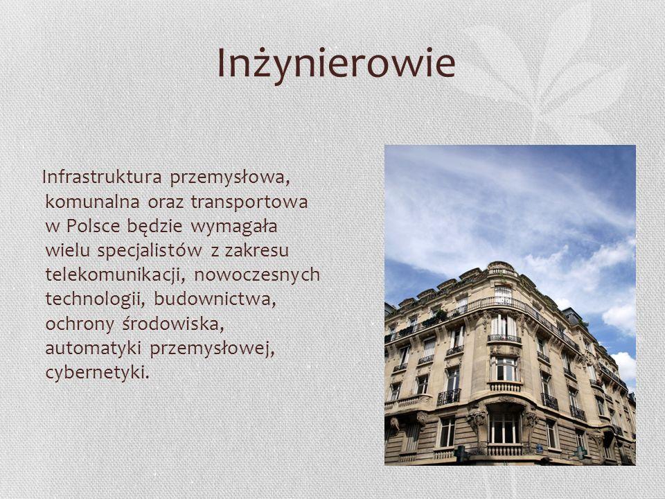 Inżynierowie Infrastruktura przemysłowa, komunalna oraz transportowa w Polsce będzie wymagała wielu specjalistów z zakresu telekomunikacji, nowoczesny