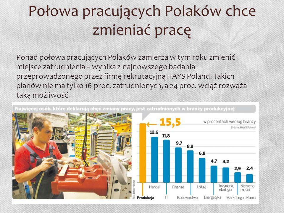 Połowa pracujących Polaków chce zmieniać pracę Ponad połowa pracujących Polaków zamierza w tym roku zmienić miejsce zatrudnienia – wynika z najnowszeg
