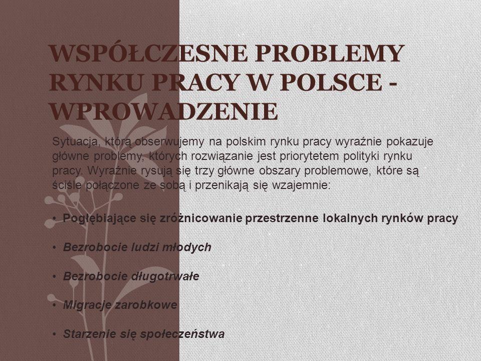 WSPÓŁCZESNE PROBLEMY RYNKU PRACY W POLSCE - WPROWADZENIE Sytuacja, którą obserwujemy na polskim rynku pracy wyraźnie pokazuje główne problemy, których