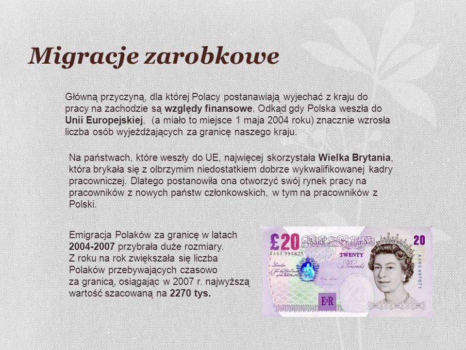 Migracje zarobkowe Główną przyczyną, dla której Polacy postanawiają wyjechać z kraju do pracy na zachodzie są względy finansowe. Odkąd gdy Polska wesz