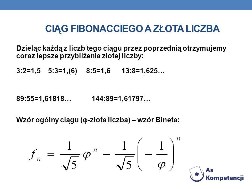 WŁASNOŚCI ZŁOTEJ LICZBY Aby podnieść do kwadratu złotą liczbę, wystarczy dodać do niej jedynkę. Aby znaleźć odwrotność złotej liczby, wystarczy odjąć