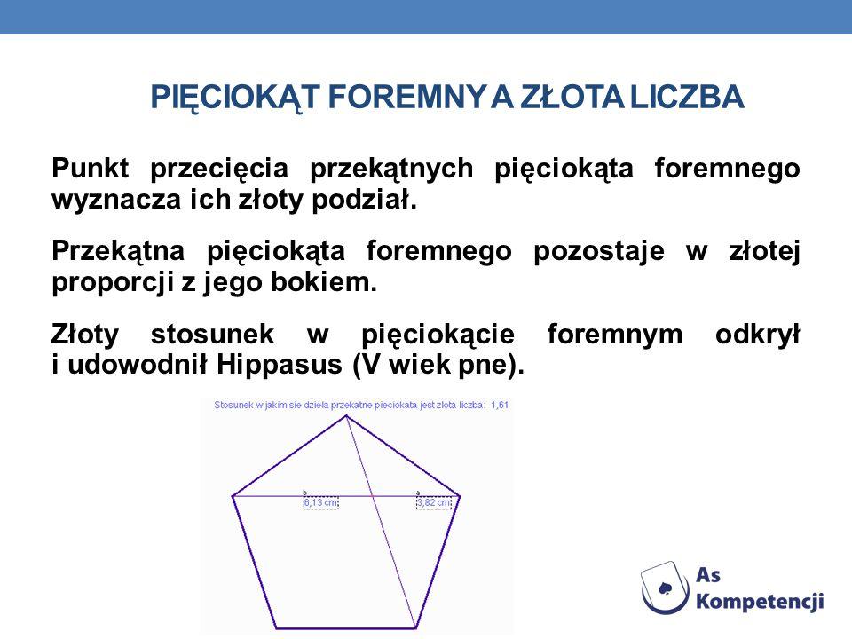 PIĘCIOKĄT FOREMNY Wszystkie boki równe. Wszystkie kąty równe, wszystkie przekątne równe, każda przekątna jest równoległa do jednego boku.